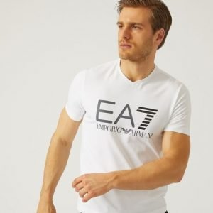 EA7 | T-Shirt In Jersey Di Cotone Stretch bianca-0